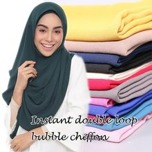 Whosale choose hot online plain muslim head wear bubble chiffon scarf instant hijab