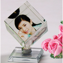 Desk top decoration color printed rotating crystal cube photo frame