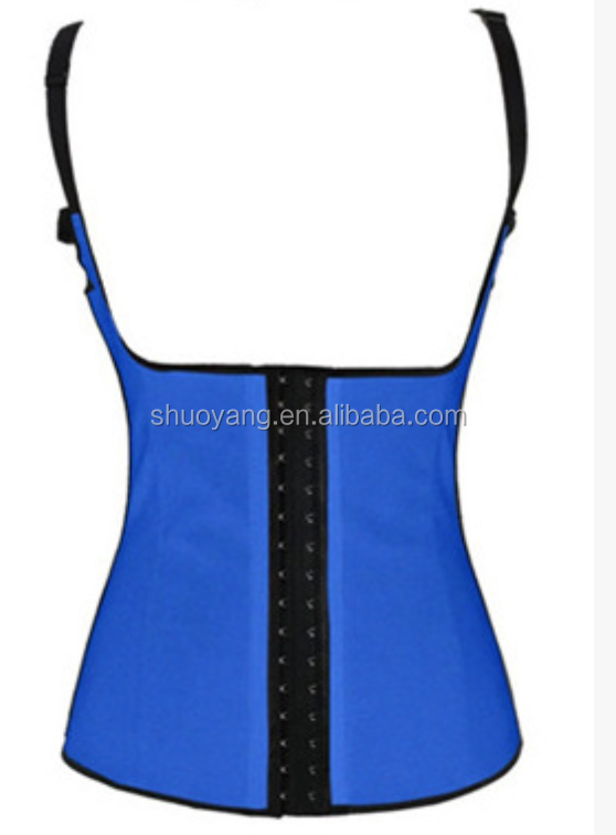Hot sale Cheap Blue Steel Boned Latex Vest Waist Trainer Vest Corset