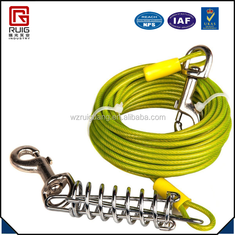 Plastic coated steel dog tie out cable wire rope
