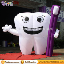 Advertising type White purple inflatable Tooth balloon with Toothbrush toy