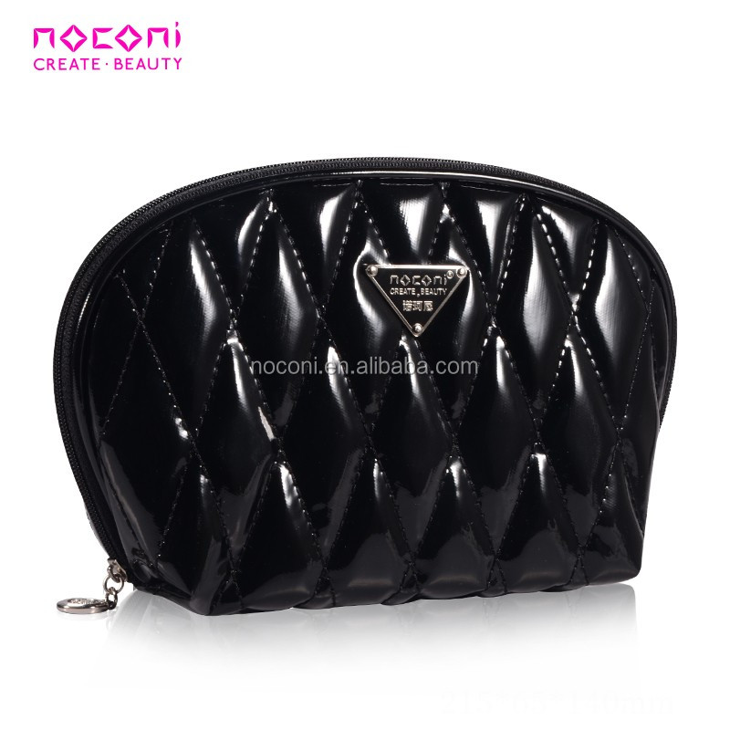 High Quality diamond lattice black cosmetic bag pvc makeup bag