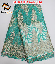 believewin lace prices dubai french lace trim long dress of NL10118-3 in teal/gold