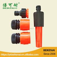 Adjustable plastic garden hose spray nozzle
