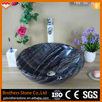 2017 antique design marble stone high quality and cheap price black wood vein marble bathroom handing wash basin