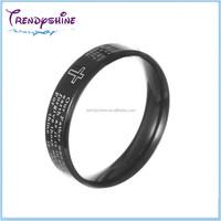 Cheap custom black plated stainless steel laser engraving hand ring