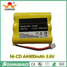 Sunrise 3.6v AA900mAh/ni-cd battery pack for cordless phone/ NI-MH/NI-CD battery for backup lamp