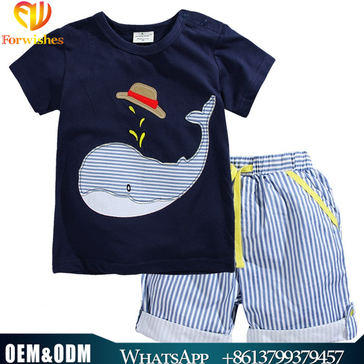 Wholesale infant toddler clothing 100% cotton short sleeve t-shirts+shorts sets boy outfits 2-7yfashion children's clothing sets