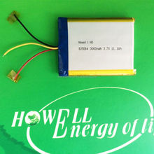 825064 3000mah polymer battery /lithium polymer rechargeable battery /gps replacement battery 3.7v 3000mah