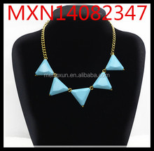 European and American trade fashion wild exaggeration triangle of ancient gold metal necklace small