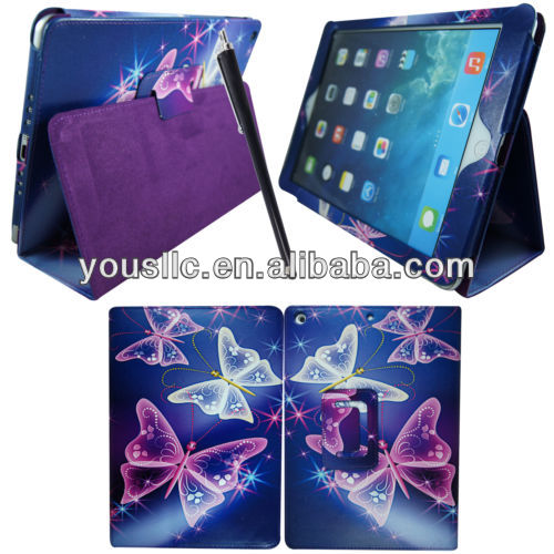 PRINTED TABLET LEATHER CASE ,MAGNETIC FLIP WALLET LEATHER CASE FOR IPAD AIR IPAD 5