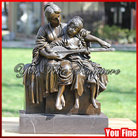 Mother With Child Playing Musical Instrument Bronze Sculpture