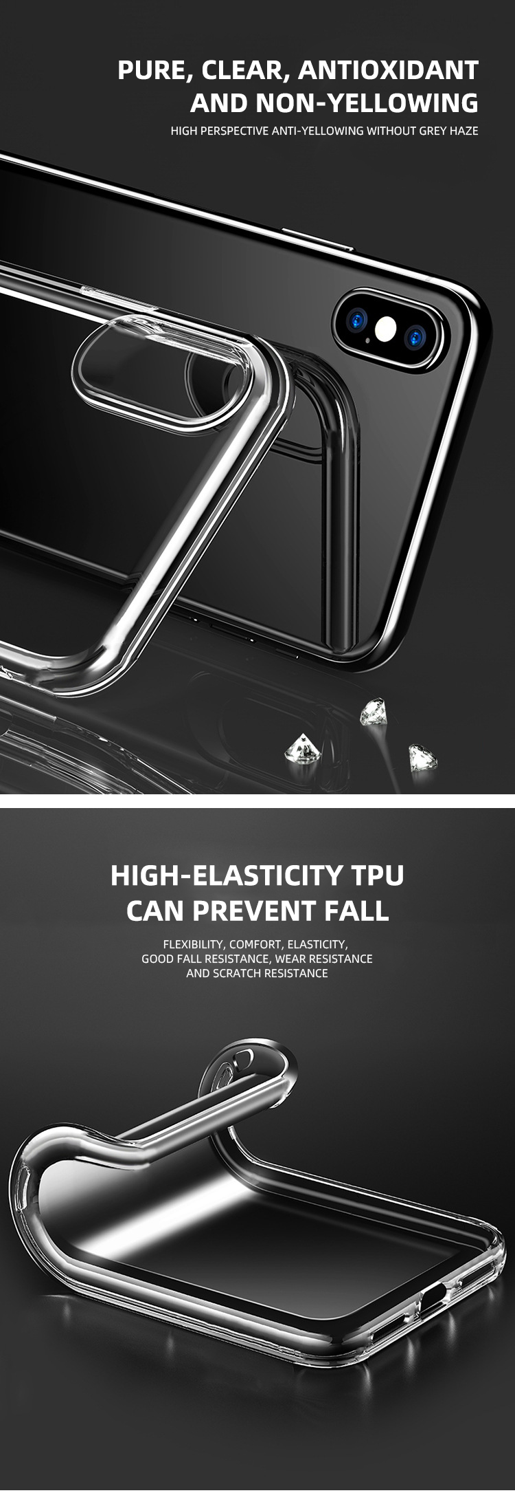 Wholesale Factory price  1.5MM Thick Tpu Transparent Case Super Anti fall for Iphone for Samsung for huawei for xiaomi  vivo