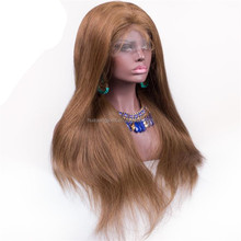 fast shipping brown color remy hair brazilian wigs natural virgin glueless bleached knots full lace wig