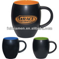Barrel shaped inside color matt black color ceramic mug