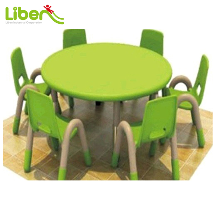 Kindergarten Used Childrens Plastic Round Study Table With Chairs
