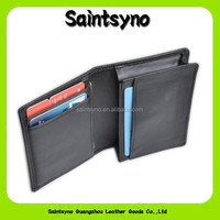 13091 Mens Bifold black Mini wallet leather plastic credit card holder