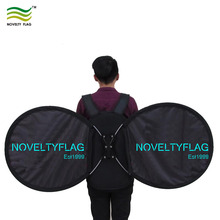 A Moving Advertising Bicycle Walking Backpack Billboard Butterfly Round Flag banner