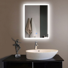 Wooden Mirror Frame Design Led Lighted Bathroom Mirror