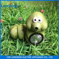 solar green worm color changing led outdoor garden decoration statue sculpture light landscape path post cap deck lamp