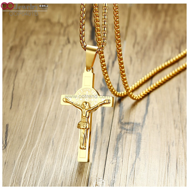 PVD 18K golden plated Catholicism design cross charm necklace
