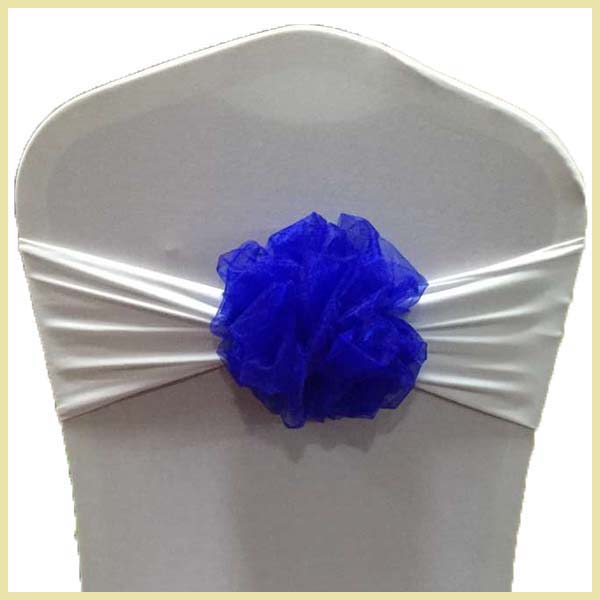 wholesale spandex chair band wth flower for wedding decoration