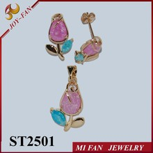 Pink earrings set 18k plated flower nice cz stone jewelry