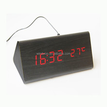 Wholesale Triangle Wooden Carpet Table Desk Digital Alarm Clock With Thermometer Temp Date LED Display