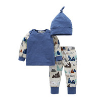 Wholesale carters baby clothes T shirt pant hat 3 pcs pack long sleeve cotton newborn baby clothes set