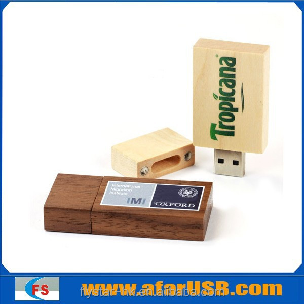Plain Rectangle Wooden USB 4GB Environment-friendly electronic product gift, bulk Wood USB flash drive with cave/engraving logo