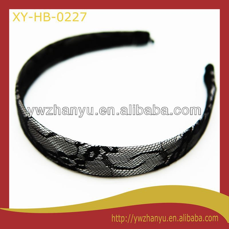 fashion wide plain alice band, black lace hairbands for women