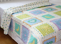 lettle square printed cotton quilts /bedspread set for children