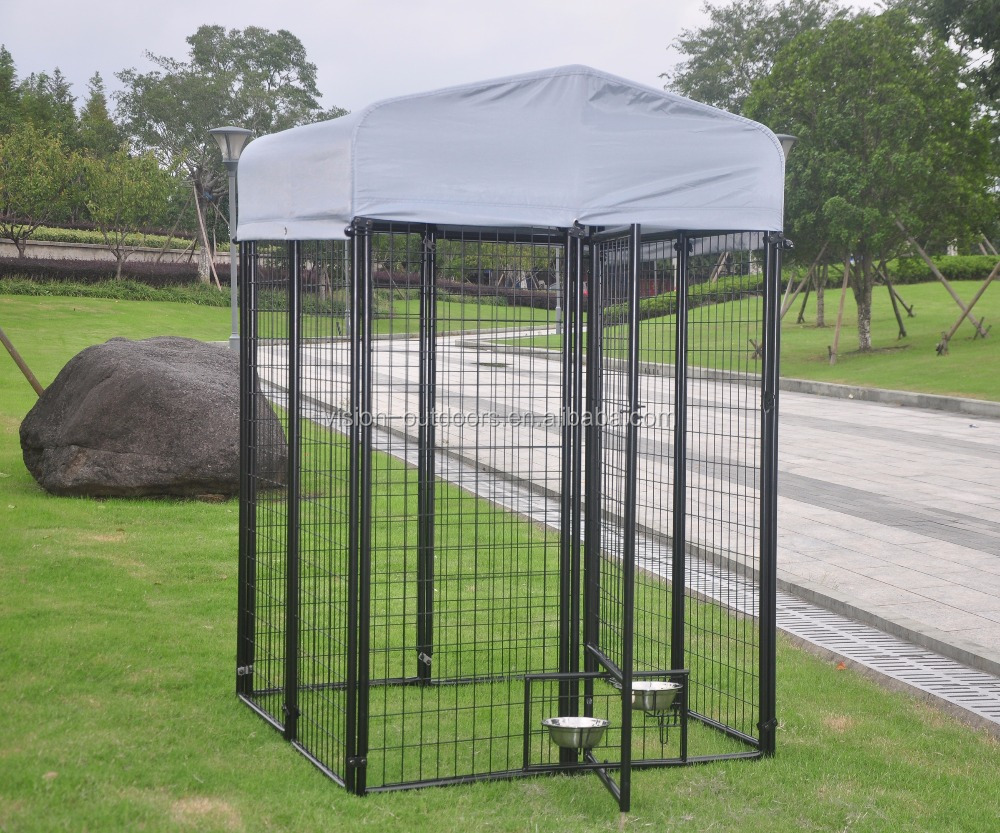 Outdoor Steel Pet Cage Dog Kennel Wire Pen Run House Covered Shade Shelter Yard-
