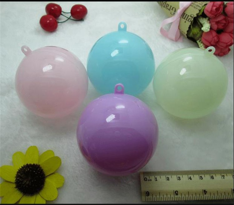 7cm transparent colored hanging Christmas balls plastic baubles decorate clear Christmas ornaments