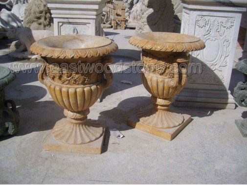 pots and planters in yellow marbles
