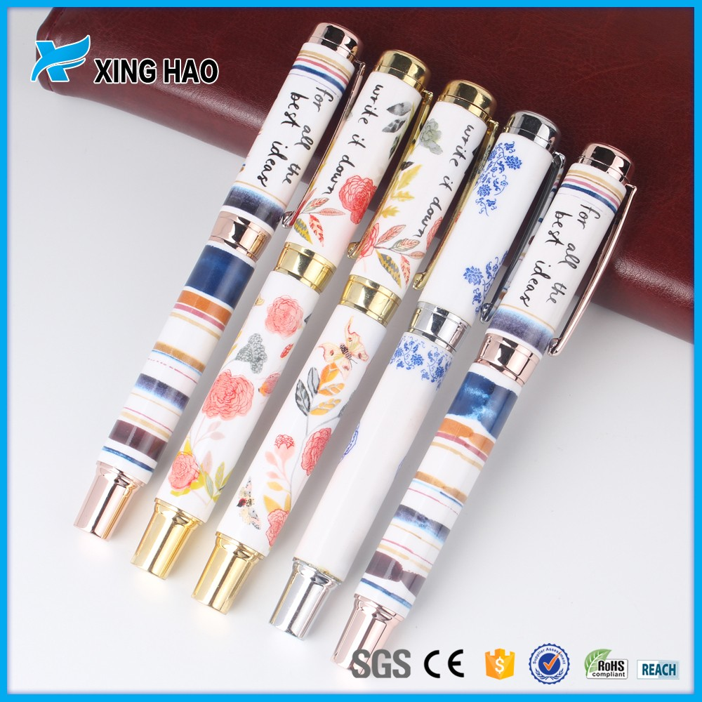 Beauty rose flower patterned metal roller pen can customize your logo and pattern Ceramic pen