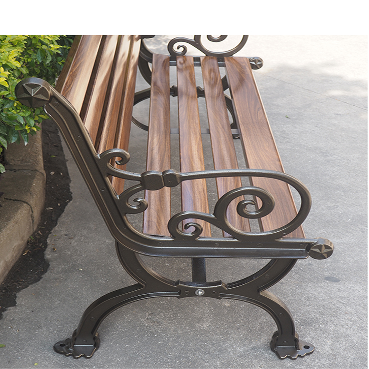 Wholesale Practical Metal Frame Backrest Wood Slats For Cast Iron Bench With Legs