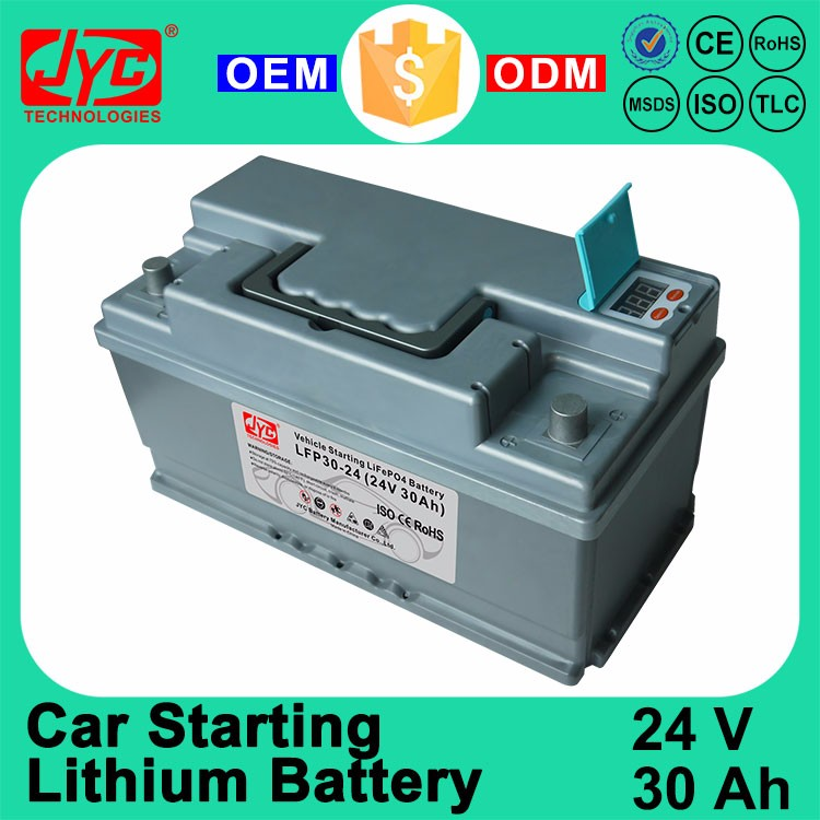 Guangzhou 24 Volt 30Ah Maintenance Free Quick Start Vehicle Car Lithium ion LiFePO4 Storage Battery Factory