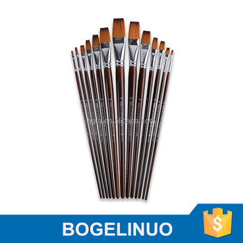 13 Pieces Wholesale Nylon Hair Flat Artist Paint Brush in Stock