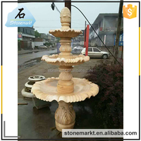 Natural stone outdoor 3 tier marble column decorative fountains for sale