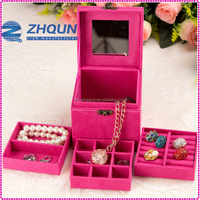 Multi-color mirrored Velvet travel jewelry case with handle