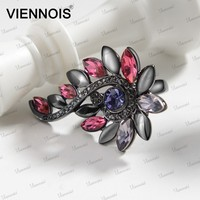 Beautiful Flower Shaped Ring With Rhinestone Wholesale