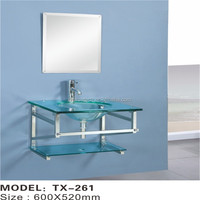 Wholesale wall mounted glass bowl small hand wash basin with mirror