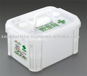 Plastic medicine box w/partition tray and handle