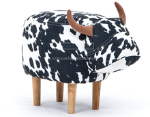 Hot sale cow fabric ottoman folding storage stool cartoon stool cow shape animal inflatable stool for home