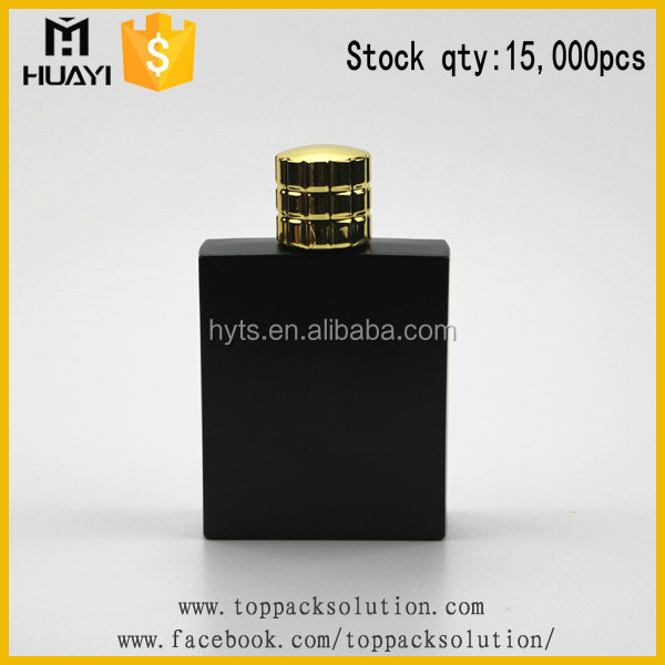 100ml matte black square glass perfume bottle in stock
