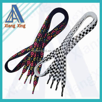 fashion cheap polyester shoelace with logo printing