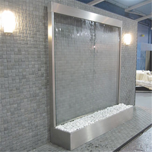 Customized tempered glass stainless steel outdoor fountain waterfall decoration