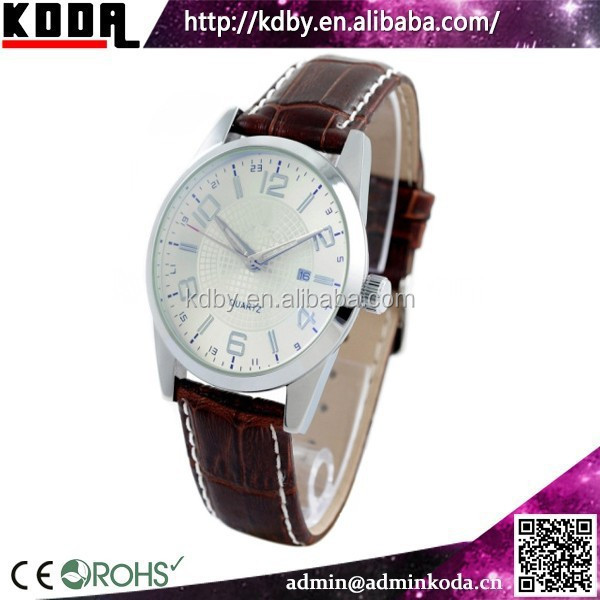 KODA auto date genuine leather stainless steel men focus quartz watch