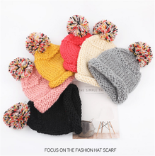 Young Boys Girls Student Winter Knit Pom Pom Beanie Hat For Keep Warm